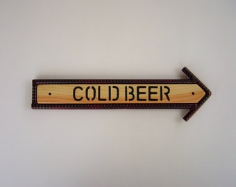 Cold Beer Arrow Sign