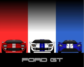 Ford Gt Generations Poster Ford Gt History Poster Ford Gt Evolution Ford Gt Print Ford Gt Art Ford Print Ford Poster