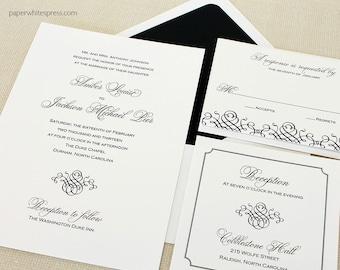 Black Tie Wedding Invitations, Formal Wedding Invitations, Classic Wedding Invitations, Scroll Invitations, Classic Script Invitations