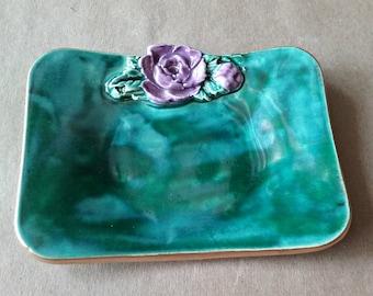 Ceramic Jewelry Trinket Dish malachite green with purple rose edged in gold