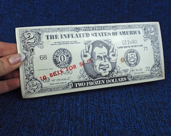 1972 Nixon Souvenir Fake Money- Two Frozen Dollars- Set of ten (10) 10 unopened package- Inflated States of America- Phase II- vintage