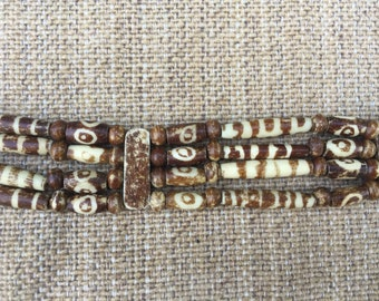 Tribal, primitive, burner, playa wear, festival beaded choker necklace