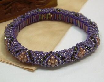 Beaded Micro Macrame Bangle BRACELET Purple Orange Medium
