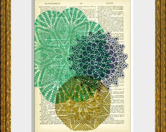 DOILY LOVE 03 Dictionary Artpage art - recycled antique 1800's dictionary page with an original graphic design - home decor - vintage charm