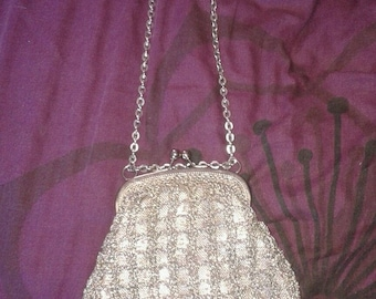 Vintage silver party clutch evening bag with chain strap