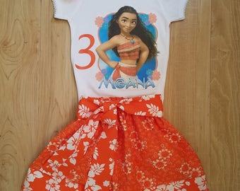 Moana Inspired Tee Shirt Birthday Set , Princess Moana Portrait Set, Moana Portrait ,Disney Vacation Outfit,Moana First Birthday