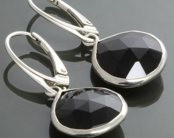 Black Onyx Earrings. Sterling Silver Frames. Lever Back Ear Wires. Genuine Gemstone. Day to Evening. f16e043
