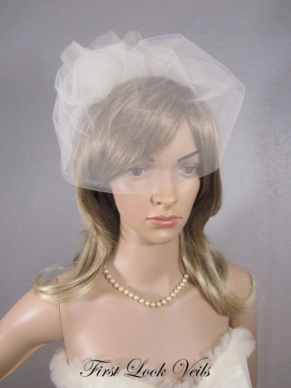 Birdcage Bridal Veil, Ivory Wedding Veil, Black Bridal Veil, White Veil, Pink Tulle Cage, Three Tulle Rose Veil, Bridal Accessory, Bride