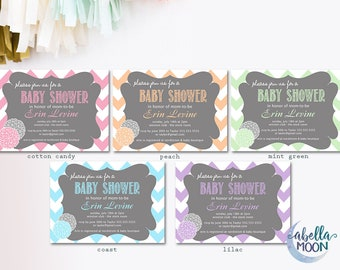 Set of 10 Chevron Dahlia Baby Shower Invitations in 5 Colors - Baby Shower, Baby Shower Invitations