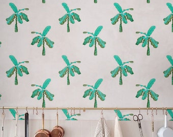 Little Palm trees Wallpaper, Removable Wallpaper, Self-adhesive Wallpaper, Jungle Wall Décor, Jungle Wallcovering - JW102