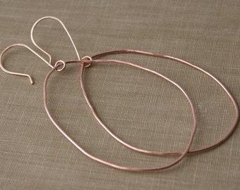 14K Rose Gold Filled Oblong Hoop Earrings- Large Hoop Earrings, Organic Shaped