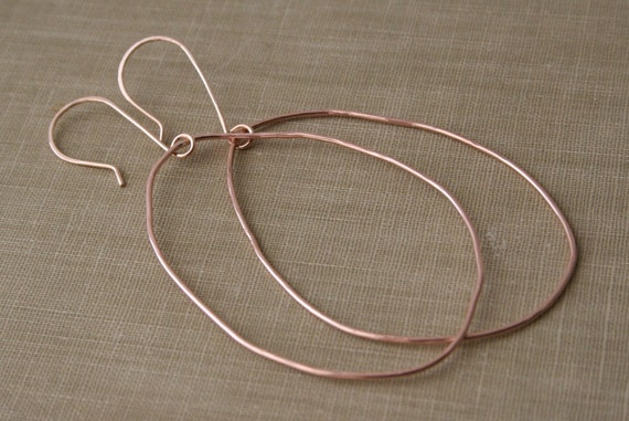14K Rose Gold Filled Oblong Hoop Earrings- Large Hoop Earrings, Organic Shaped