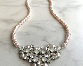 Wedding jewelry necklace - pearl bridal necklace - statement bridal necklace - statement necklace - pink pearls - white opal - Aria necklace