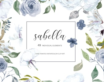 Watercolor White and French Blue Rose Clipart Separate Elements Hand Painted Flowers White Roses Clip Art Commercial Use | E113 Sabella