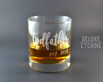 Daddy est 2018, Godfather Gift, Dad gift, Papa gift, Etched est 2018 Rocks Glass, New Dad Gift, Pregnancy Reveal Gift, Best Dad Ever