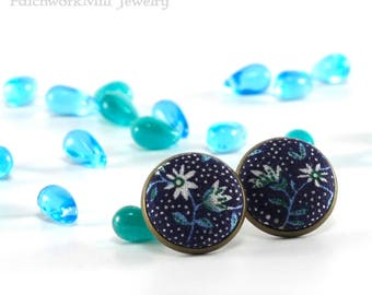 Blue Flowers Stud Earrings - Earring Studs - Remind Me William Morris, Turquoise and White Fabric Buttons Jewelry, Antique Earring Posts