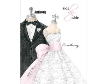 Personalized Wedding Canvas Wedding Dress Bridal Shower Gift Wedding Present Hand-Drawn Illustration Wedding Tux Wedding Date