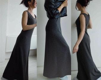 Gray maxi dress/Tank long dress/Sleveless full length dress/Shift dress/Long dress without sleves/Casual maxi dress/Cotton knit dress