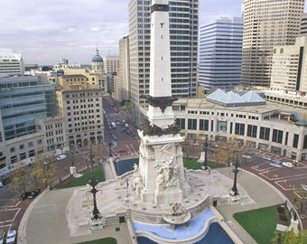 Indianapolis, Indiana - Skyline at Day - Lantern Press Photography (Art Print - Multiple Sizes Available)