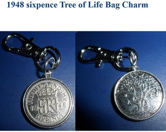 Tree of Life 1948 Lucky British sixpence coin bag charm 70th Birthday Gift for a woman