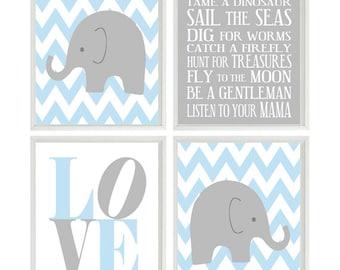 Nursery Art Elephant Chevron Baby Boy Prints Gray Light Blue Wall Love