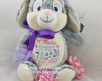 Baby Stuffed Animal Personalized Gift Bunny with Birth Announcement from Felicia's Fancies Baby Boutique