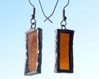 Amber glass earrings, translucent earrings, colored glass earrings, glass and silver earrings