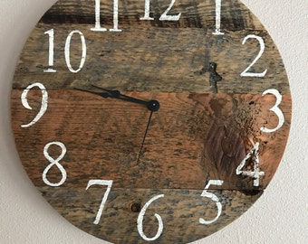 """Rustic Barn Wood Clock - 16"""" sample . Similar one will be made on order"""