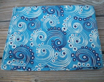 Vintage Blue Feedsack, Bubbles,Swirl, Boho