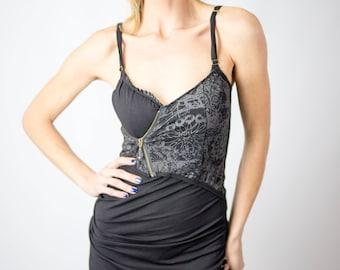 Women's Zip Dress | Festival dress | Burning Man dress | Organic dress | Eco-friendly dress | slow fashion | screen printed dress |