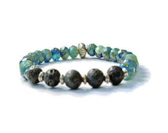 Aromatherapy Stretch Bracelet, Natural Lava Stones, Czech Glass, and Sterling Silver, Essential Oil Jewelry