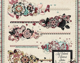 On Sale 50% Off My Beloved Digital Scrapbook Kit Clustered Stitches - Digital Scrapbooking