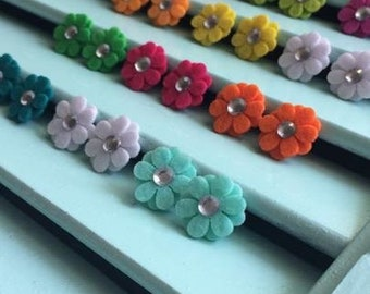 Felt Flower Studs