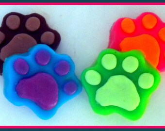 Paw Soap - Paw Prints - Dog - Cat - Paws - 4 Soaps - Party Favors - Free U.S. Shipping - You Choose Colors and Scent