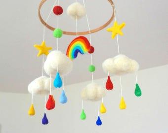 Rainbow mobile Felt mobile Felt cloud mobile Raindrops baby mobile Colorful mobile Newborn gift Childrens decor Rainbow circle mobile