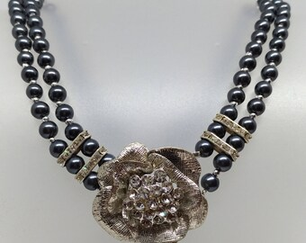 Necklace faux pearls, rinesthone, crystals and silver components, wedding gift, Christmas gift.