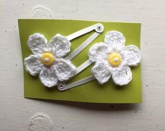 Handmade Crochet Flower Daisy Hair Clips