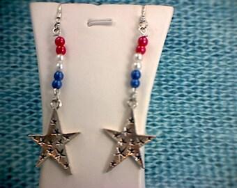 Patriotic Red, White & Blue Star Dangle Earrings (1)
