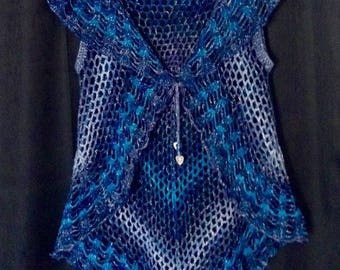 Boho Vest With Bead Tie - teal