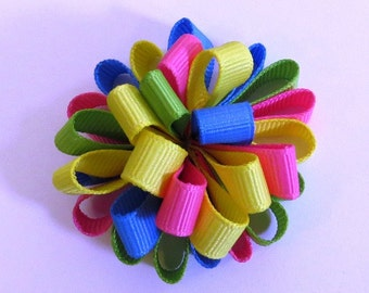 Spring Easter, Loopy Puff Bow Pink, Yellow, Blue and Green