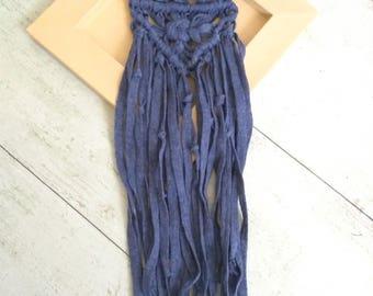 Blue Macrame Necklace, Long Macrame Nacklace, Cotton Rope Knot Necklace, Boho Necklace, Macrame Jewelry