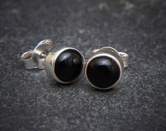 Black Onyx Studs, Silver Stud Earrings, Black Earrings, Simple Studs, Everyday Earrings, Sterling Silver