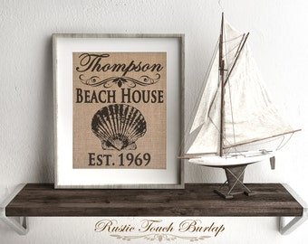 Beach decor, Coastal decor, Beach house decor, Custom beach decor, Beach House sign,  Nautical decor, Last name sign, Beach wedding gift