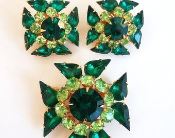 Vintage Judy Lee Rhinestone Brooch and Earring Set - Green Envy - Maltese Cross Pin and Earrings - Green Brooch & Earrings - Signed
