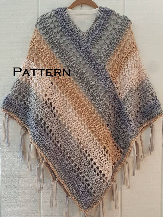 Crochet Pattern Easy Weekend Poncho With Fringe Bernat Pop Yarn Cake