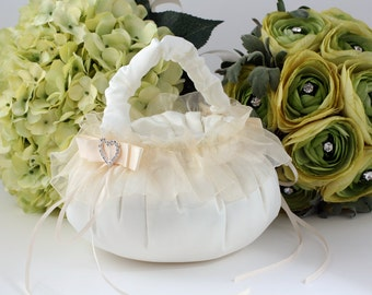 Flower Girl's Basket with Heart Buckle