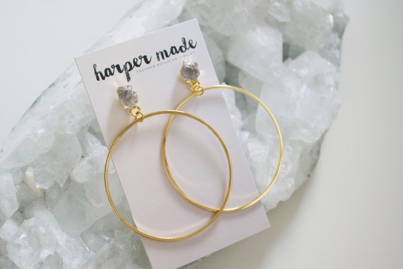 Stella Earring // raw crystal gold or silver plated stud hoop statement earring