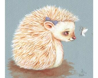 Sonnet, Albino Hedgehog, print from an original watercolor illustration