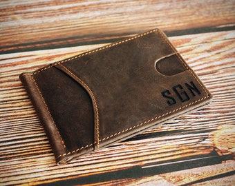 Personalized Men's Leather Wallet,Front Pocket Money Clip,RFID Blocking Bifold Slim Wallet,Minimalist Wallet,Wedding Gift,Groomsmen Gift
