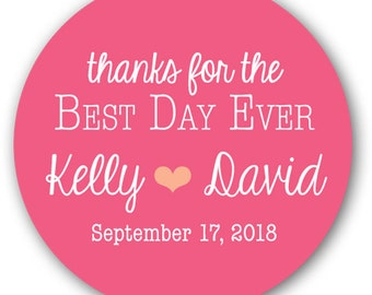 """30 Glossy 1.5"""" Round Sticker Label Tags  - Custom Wedding Favor Stickers & Gift Tags  - Thanks For The Best Day Ever Heart"""